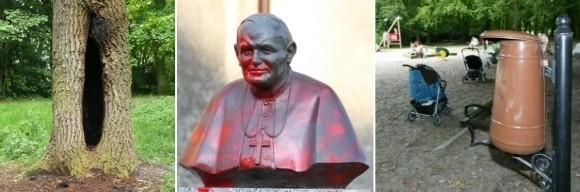 """Ostatnio podpalono drzewo w parku. W marcu ktoś oblał popiersie Jana Pawła II czerwoną farbą. Przy tych """"wyczynach"""" zwykłe niszczenie koszy w Parku Zdrojowym nie robi na nikim wrażenia."""
