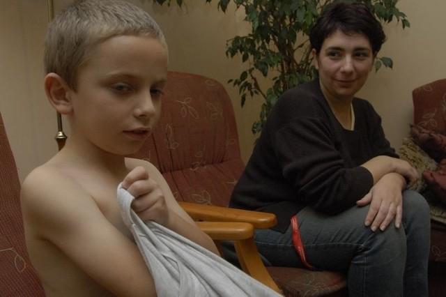 Adaś Siciński z mamą.