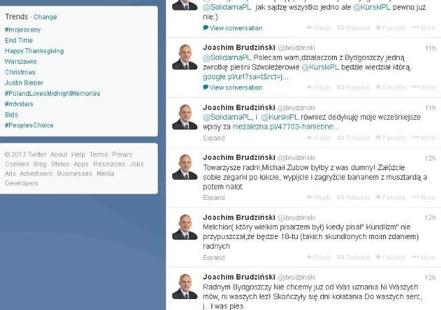 Wpisy posła Brudzińskiego na Twitterze.