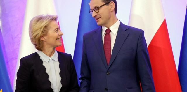 Przewodnicząca Komisji Europejskiej Ursula von der Leyen i premier Mateusz Morawiecki