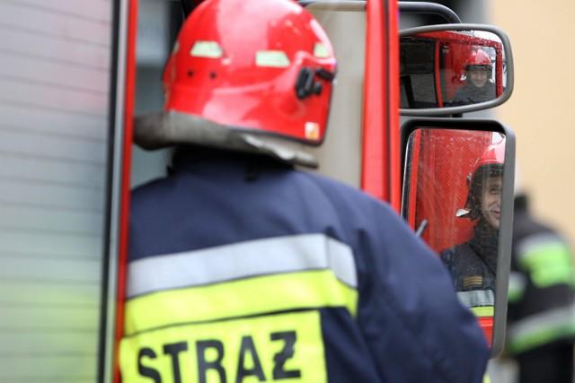 Strażacy gasili ogień w zakładzie produkującym znicze w Wodzisławiu Śl.