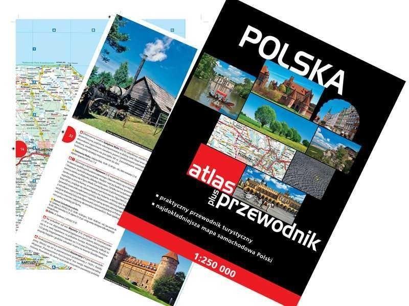 Atlas plus przewodnik, czyli mapa samochodowa całej Polski i praktyczny przewodnik turystyczny.