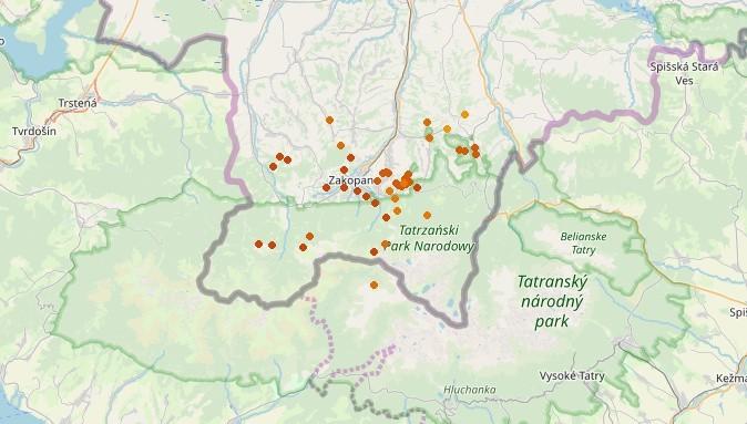 Miejsca, gdzie uderzały pioruny około godziny 14