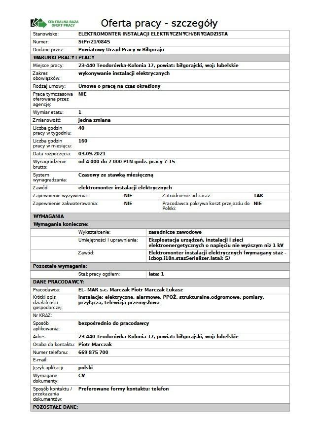 Pełny etat i wysokie wynagrodzenie. Praca czeka na mieszkańców województwa lubelskiego. Zobacz oferty z września 2021