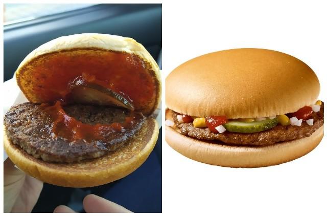 Znajdź trzy różnice. Takiego hamburgera kupił nasz Czytelnik w restauracji McDonald's przy ul. Produkcyjnej w Białymstoku (z lewej). A tak hamburger powinien wyglądać według wzorca (z prawej).