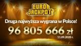 Eurojackpot.  Wielka wygrana w Eurojackpot w Polsce.  96 805 666,90 zł! Szczęśliwe liczby
