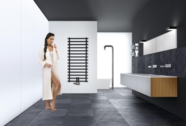 Grzejnki łazienkowy LerosGrzejnik charakteryzuje się odważnym designem. Dlatego idealnie sprawdzi się w nowocześnie zaaranżowanej łazience.