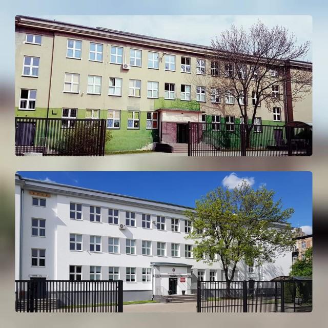 Szkoła Podstawowa nr 26 w Łodzi przed i po termodernizacji.