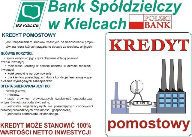 KREDYT POMOSTOWY BANKU SPÓŁDZIELCZEGO w Kielcach - wyślij sms o treści: NDS.9 pod numer 72051