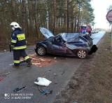 Wypadek na trasie Nowe Wykno - Gołasze Puszcza. W zderzeniu dwóch samochodów osobowych ranna została kobieta [ZDJĘCIA]