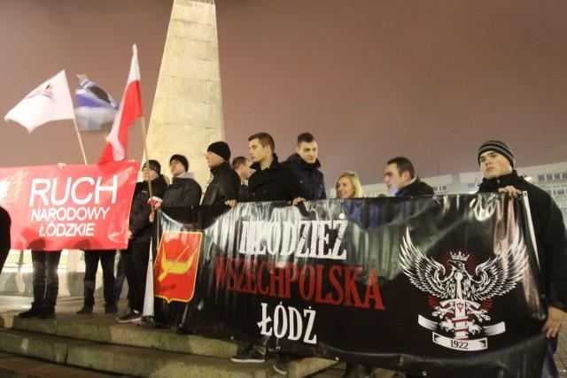 Pod koniec listopada na placu Wolności w Łodzi narodowcy protestowali przeciwko sposobowi przeprowadzenia wyborów