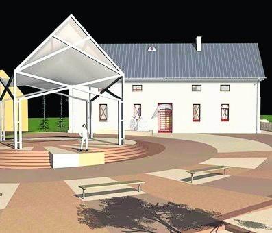 Wizualizacja przedstawia spichlerz po renowacji, który będzie przeznaczony na cele turystyczno-kulturalne mieszkańców.