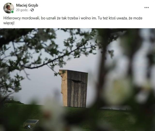 Wpis zastępcy dyrektora wydziału komunikacji społecznej Macieja Grzyba na Facebooku