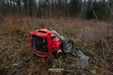 Knyszyn. Wypadek śmiertelny zablokował DK65. Zginęły dwie osoby po zderzeniu skody z BMW. Utrudnienia trwały kilka godzin (zdjęcia)