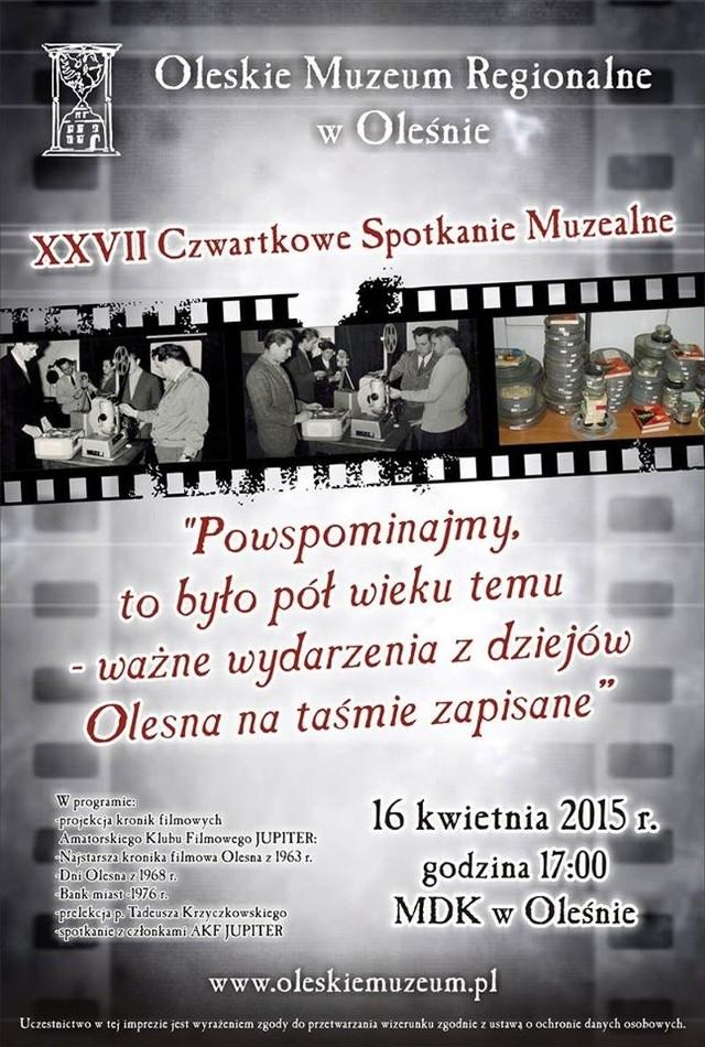 Plakat promujący Czwartkowe Spotkanie Muzealne.
