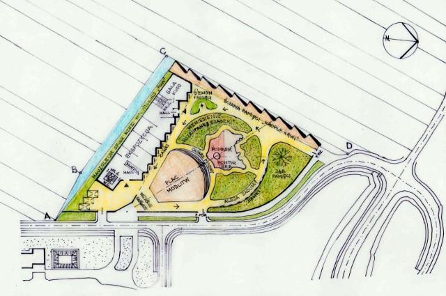 Projekt zagospodarowania działki z pomnikiem na działce w Domostawie, opracowany przez architekta Tomasza Ziemskiego