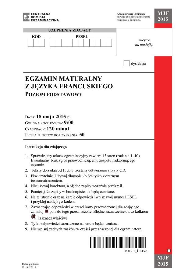 Matur 2015 język francuski, poziom podstawowy