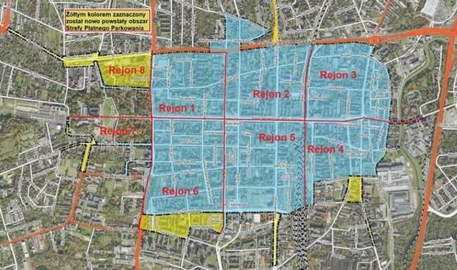 Tak na mapie wyglądają granice strefy płatnego parkowania w Częstochowie. Na żółto zaznaczono nowe obszary