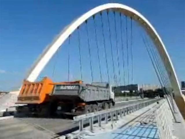 Test obciążeniowy wiaduktu na ulicy Lodowej
