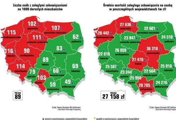 Liczba osób z zaległymi zobowiązaniami na 1000 dorosłych mieszkańców i średnia zartość zaległości na osobę w poszczególnych województwach (w zł)