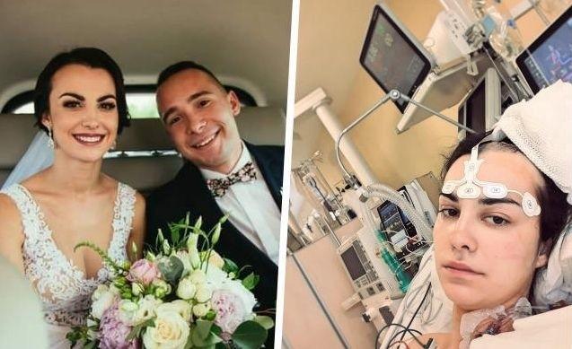 Renata z mężem w dniu ślubu i w szpitalu, gdzie leczona jest z glejaka, który zaatakował jej mózg