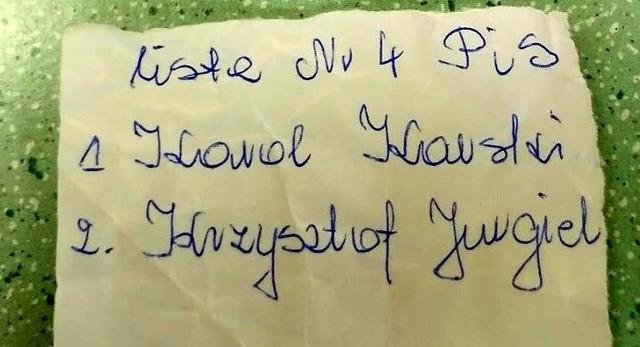 Takie karteczki mieli mieć upośledzeni pensjonariusze Domu Pomocy Społecznej w Tykocinie, gdy przyjechali na głosowanie do jednego z lokali wyborczych. Wiceprzewodniczący wezwał policję. Teraz trwa dochodzenie w tej sprawie