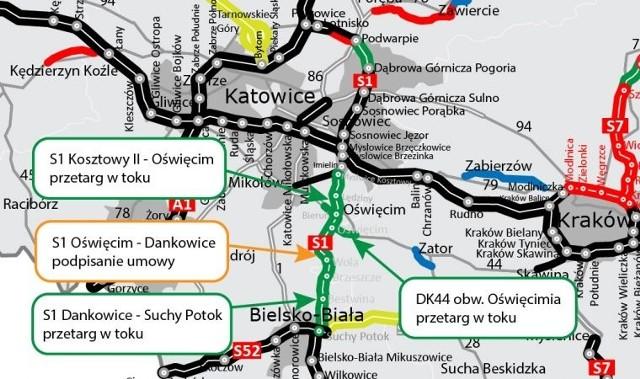 """GDDKiA rezygnuje z kolejnego przetargu na budowę odcinka trasy S1 Bieruń-Oświęcim i chce go zamówić """"z wolnej ręki""""."""