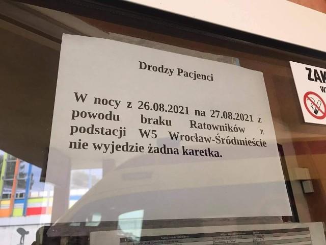 Karetki w nocy nie wyjeżdżały z podstacji Wrocław-Śródmieście