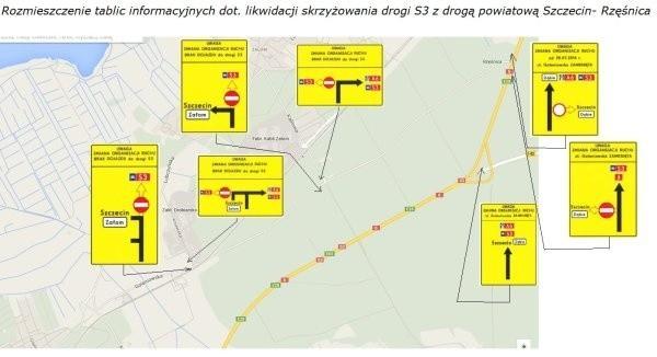 Zmiany na skrzyżowaniu drogi S3 z przedłużeniem ulicy Goleniowskiej w Szczecinie