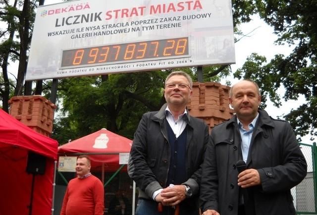 Ryszard Urbański i Aleksander Walczak ze spółki Dekada pod licznikiem strat Nysy. Budowa galerii będzie gorącym tematem kampanii samorządowej.