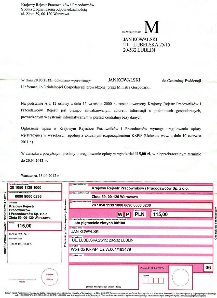115 zł takiej wpłaty oczekuje spółka o nazwie Krajowy Rejestr Pracowników i Pracodawców