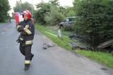 Wrocław: Na Bystrzyckiej opel ściął latarnię i wjechał w krzaki (ZDJĘCIA)