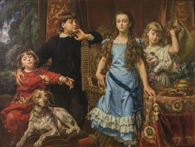 """""""Portret dzieci artysty"""" 1879, olej deska. Obraz, którego nie może zabraknąć na żadnej z ważnych wystaw prac  Jana Matejki"""