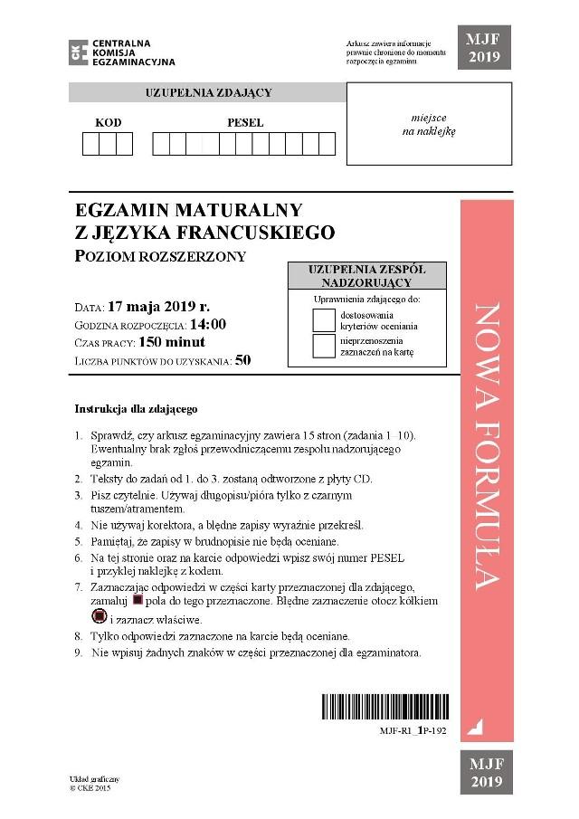Język francuski: Zobacz kolejne strony arkusza CKE i odpowiedzi --->