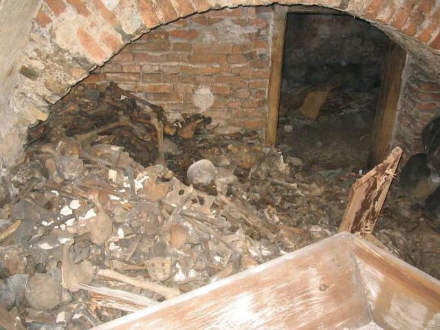 Kości ofiar spalonych w kościele św. Józefa w Gdańsku przez Sowietów, ok. 2006 r.,  (ze zbiorów Zgromadzenia Misjonarzy Oblatów Maryi Niepokalanej w Gdańsku)