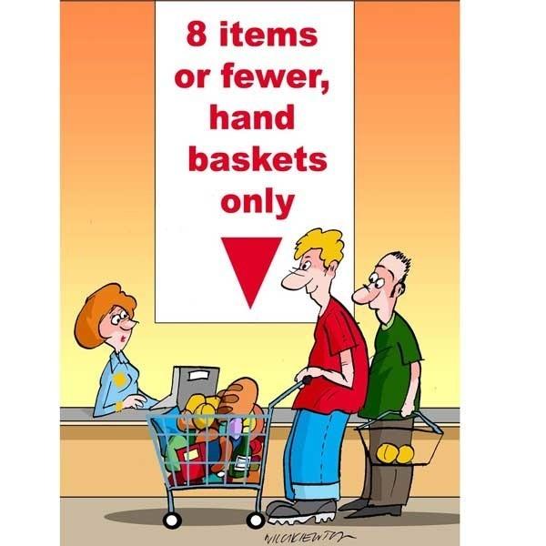 8 produktów lub mniej, tylko koszyki