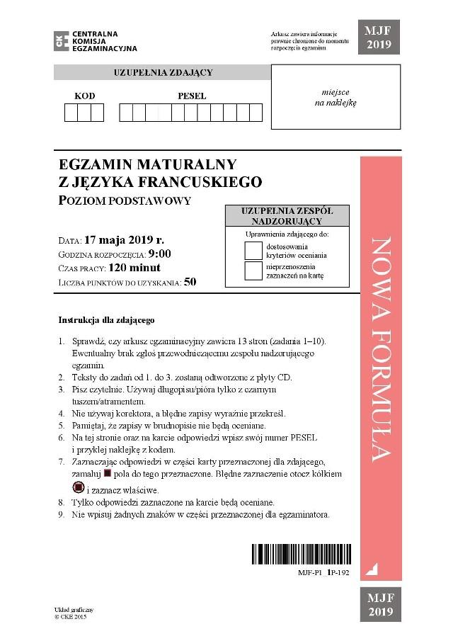Matura 2019: Język francuski poziom podstawowy. Odpowiedzi, arkusze CKE, zadania. Co było na maturze?Język francuski poziom podstawowy: Zobacz odpowiedzi i kolejne strony arkusza CKE --->