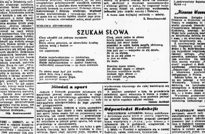 """Wisława Szymborska debiutowała na łamach dodatku literackiego """"Dziennika Polskiego"""" """"Walka"""" 14 marca 1945 r. wierszem """"Szukam słowa"""""""