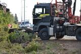 Wypadek w Udorpiu. Ciężarówka z drewnem wpadła do ogrodu. Cud, że nikomu nic się nie stało