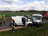 Wypadek pod Stargardem. Przed samym Żarowem zderzyły się dwa pojazdy, w tym laweta