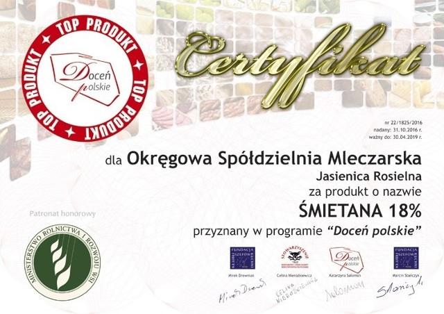 Sukces OSM Jasienica Rosielna - śmietana zdobyła tytuł TOP PRODUKT