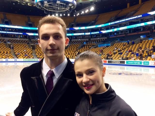 Toruńska para na lodowisku w Bostonie.