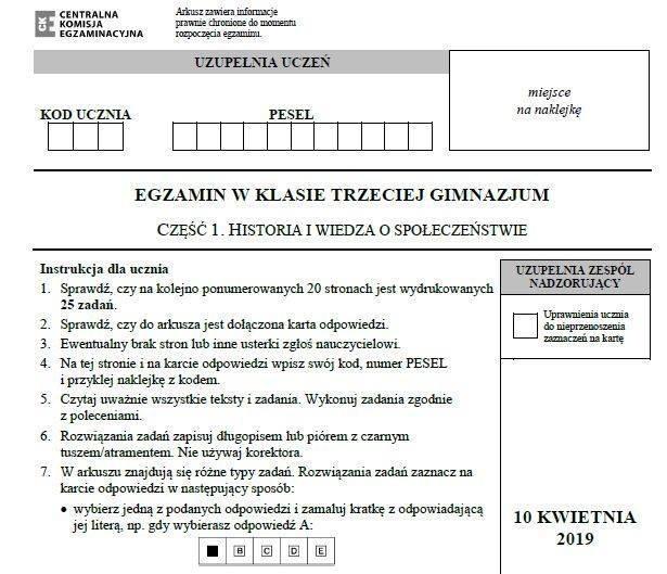 Egzamin gimnazjalny 2019 ODPOWIEDZI: POLSKI, HISTORIA, WOS kiedy odpowiedzi, arkusze CKE, wyniki, pytania i zadania na egzaminie 10.04.2019