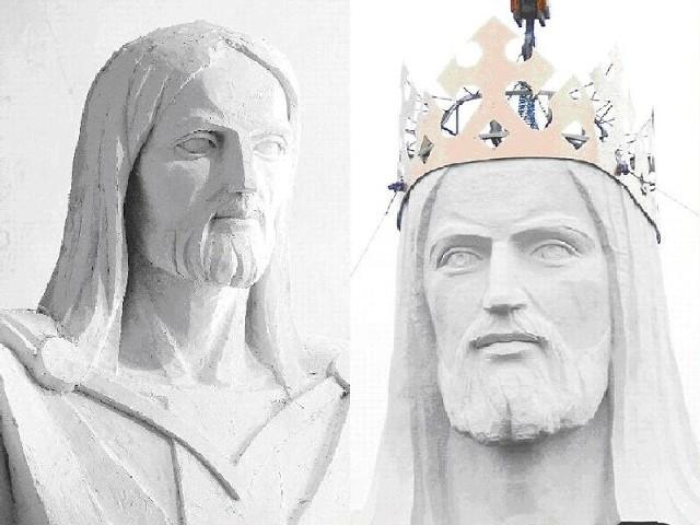 Gdy porówna się projekt (z lewej) z rzeźbą, głowa różni się dość wyraźnie