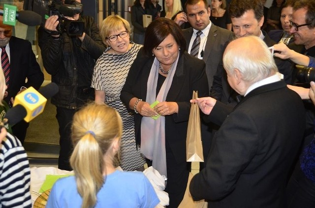 Anna Komorowska podczas otwarcia sali teatralnej Łejery.