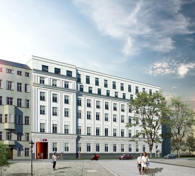 Tak może wyglądać elewacja akademika przy ul. Prusa. Firma Probuild zastrzega, że projekt może ulec jeszcze zmianom.