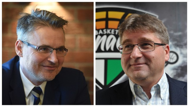 Z lewej Janusz Kubicki, prezydent Zielonej Góry. Z prawej Janusz Jasiński, właściciel Enei Zastalu BC Zielona Góra
