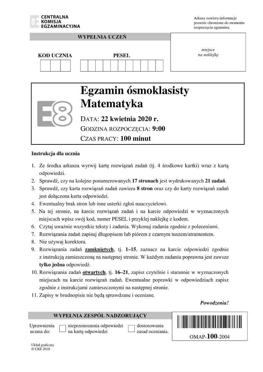 Egzamin ósmoklasisty 2020 matematyka