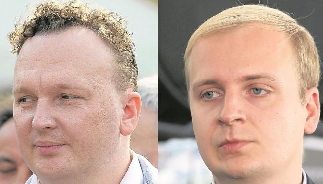 Tomasz Janczyło, radny miejski Platformy Obywatelskiej  (z lewej), Marcin Szczudło, radny klubu Tadeusza Truskolaskiego