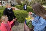 Ostrołęka. Dzień Europy. 9.05.2021. Tort i szampan w Punkcie Informacji Europejskiej, żółte tulipany rozdawane na ulicach. Zdjęcia, wideo